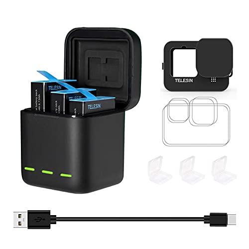 TELESIN 3er Pack Batterien Ladegerät mit Typ-C-Kabel für GoPro Hero 10 9 schwarz, mit Silikon-Hülle,Objektiv,Displayschutzfolie,Abdeckkappe,kleine Akku-Schutzhülle,akku fuer gopro hero 10 9