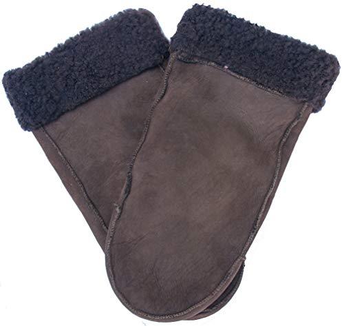 EEM Lammfell Fäustlinge LEONIE Handschuhe aus echtem gewachsenem Lammfell; braun, Größe L