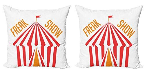 """LXJ-CQ Freak Show Funda de Almohada Decorativa Paquete de 2 Carpas de Circo con una Bandera y Rayas tipográficas en Tonos de Verano Funda de cojín de sofá 18""""x18"""