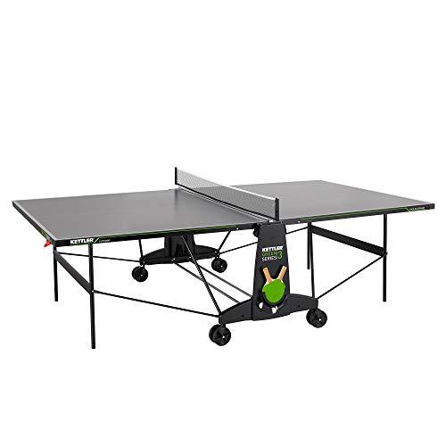 Kettler K3 - Mesa de ping pong para exteriores, tamaño de torneo, robusta placa de resina de melamina de 4 mm con capa superpuesta resistente a los arañazos, resistente a la intemperie,