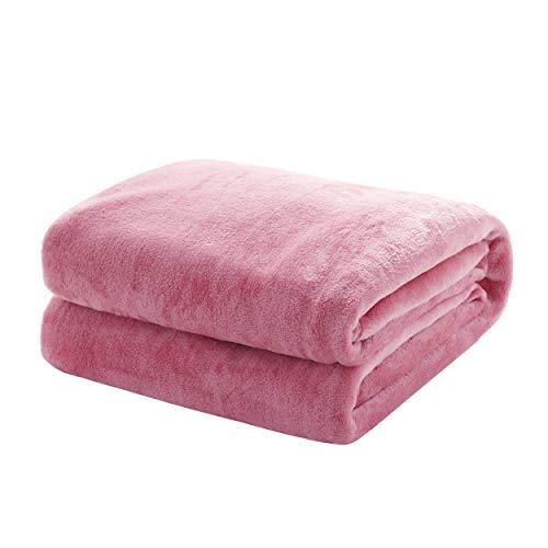 Mixibaby Kuscheldecke Flauschige extra weich & warm Wohndecke Flanell Fleecedecke, Falten beständig/Anti-verfärben als Sofadecke oder Bettüberwurf, Größe:150 cm x 200 cm, Farbe:Altrosa
