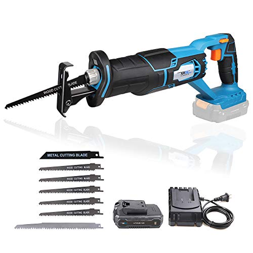 NEWONE 20V Reciprocating Saw zall saw cut-off tool with 2.5A Charger,LED working light, Tool-Free Blade Change, 7pcs Saw Blades for cutting metal wood frozen bone, 2.0AH Battery
