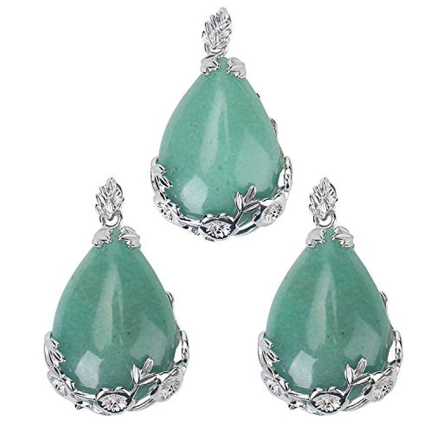 Wholesale 3 PCS Natural Green Aventurine Quartz Crystal Pendant Teardrop Quartz Chakra Reiki Bulk for Jewelry Making