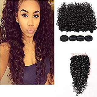 Perstar Wet and Wavy Human Hair Weave Bundles Water Wave 4 Bundels With Closure Brazilian Virgin Curly Hair Bundles 8A Unprocessed Remy Human Hair Bundles Water Wave Hair Extensions22