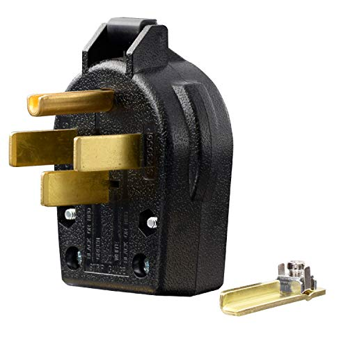 AIDA 30/50 Amp, 125/250 Volt, 3-Pole, 4-Wire, 4-Prong Grounding Interchangeable Straight Blade Angle Plug for Dryers & Ranges Replacement, NEMA 14-30P/14-50P, Black, UL Listed, 030756