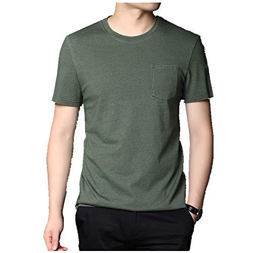 Summer New Round Neck -  Camiseta de algodón para hombre Verde verde 3XL