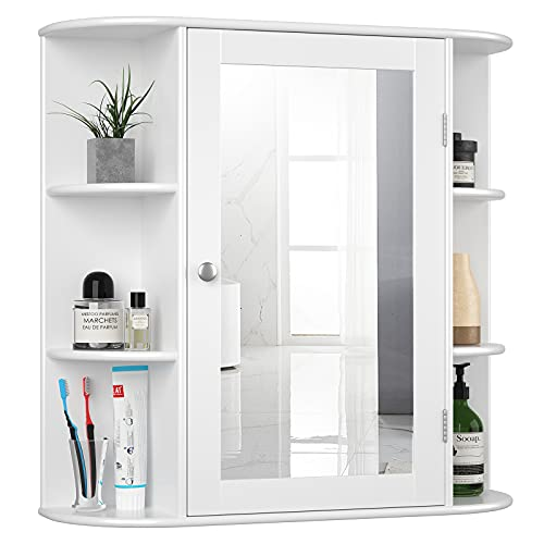 Tangkula Bathroom Medicine Cabinet with Mirror, Wall Mounted Bathroom Storage Cabinet with Mirror Door & Open Shelves, Mirror Cabinet for Bathroom Living Room, Bathroom Mirror Wall Cabinet (White)