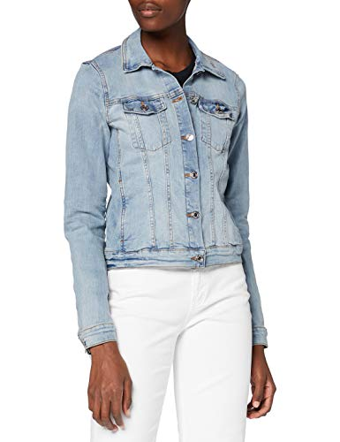 TOM TAILOR Denim Denim Biker Jeansjacke Damen, Blau (10118 - Used Light Stone Blue), M