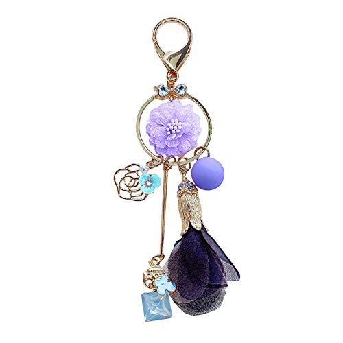 WFZ17 - Llavero colgante con diseño de flores y piedras preciosas sintéticas, color morado