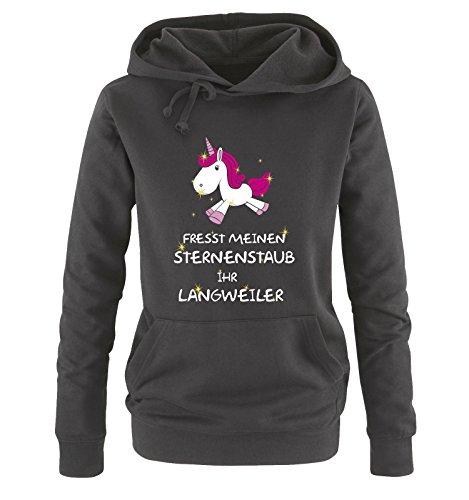Comedy Shirts Fresst Meinen Sternenstaub Ihr Langweiler - Einhorn - Damen Hoodie - Schwarz/Weiss-Pink-Rosa-Gold Gr. M