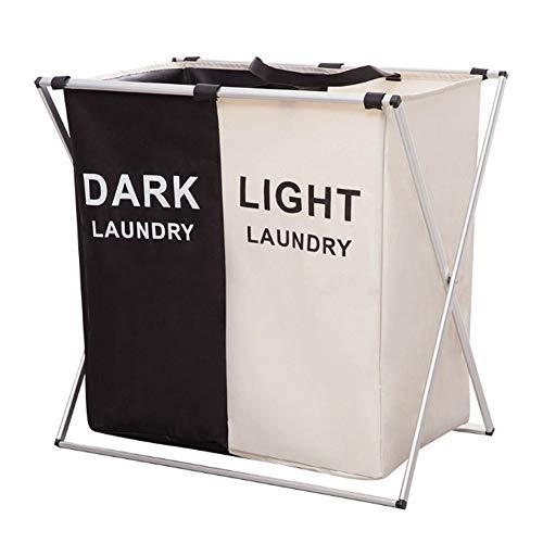 QJKai Lavandería grande Bolsa de lavandería plegable Plegable Cesta de lavandería Bolsa de almacenamiento portátil Durable Tela Oxford Ropa de lavandería Cesta Clasificador