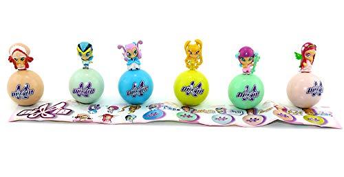 6 Pixie Figuren auf steh auf Kugeln mit Allen Beipackzetteln (Pixie Winx Club Figuren)