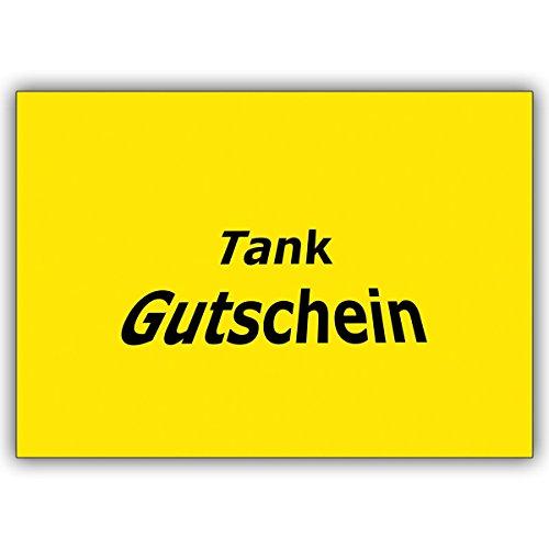 1 cadeaubon kaart: vrolijke tank tegoedbon (blanco): misschien voor een zomerse spuit? • Mooie vouwkaart met envelop als wenskaart