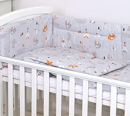 5 Piezas Juego de Cama para bebé Protector Edredón Ropa de Cama para Cuna 120 x 60 cm, Tipi