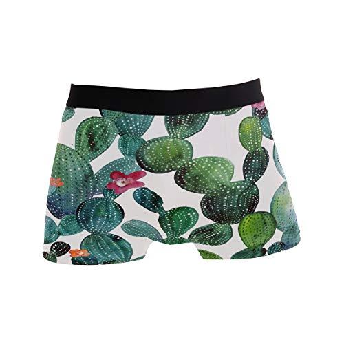 MNSRUU Herren Unterhose Aquarell Kaktus Tropical Plant Regular Leg Boxershorts Gr. L, Multi