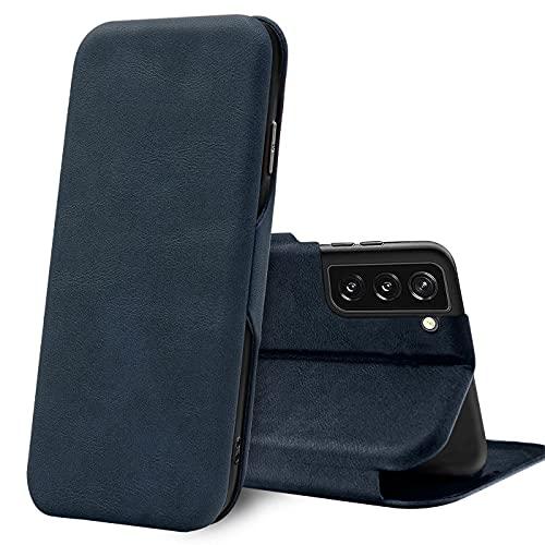 Verco Case per Samsung Galaxy S21 Custodia, Cover a Libro Pelle PU per Samsung S21 5G Custodia Premio Booklet Protettiva, Blu