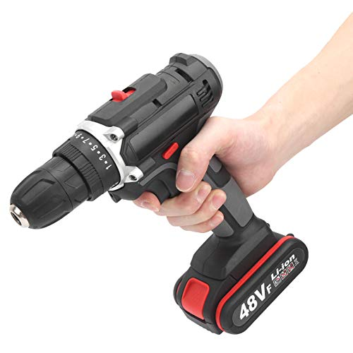 Electric Drill Screwdriver Machine Set,2‑Speed Multifunctional Cordless Hand Electric Home Drilling Machine with Led Light,for Woodworking Drills,Twist Drills(UK Plug)