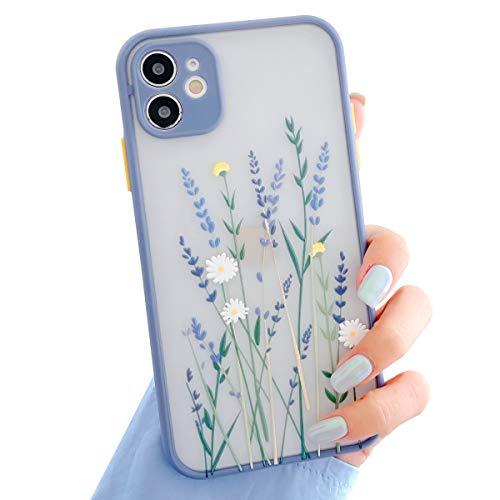 Ownest Kompatibel mit iPhone 11 Hülle,Blume Transparent Matte PC Back 3D Floral & Mädchen Frau Weich Silikon Bumper Schutzhülle Hülle für iPhone 11-Lila