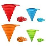 ddLUCK Paquete de 4 embudos plegables de silicona, flexibles/plegables/embudos de cocina para botella de agua, transferencia de líquidos, boca estrecha y ancha embudos tolva