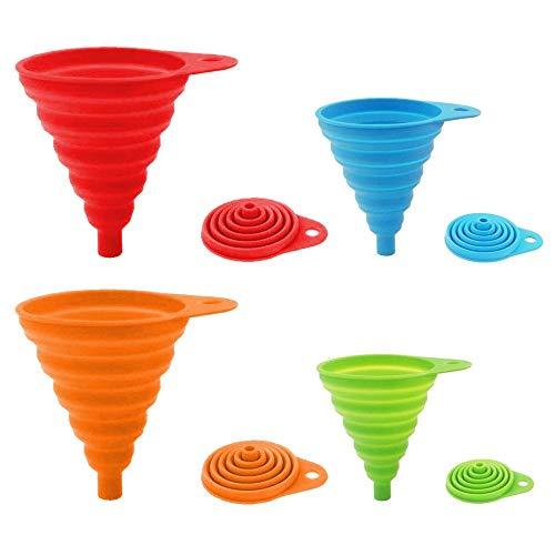 ddLUCK Embudo plegable de silicona de 4 unidades, flexible/plegable/embudo de cocina para...