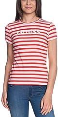 Guess Camiseta Rayas Mujer Manga Corta Rosada