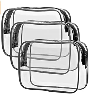3 Pieces Clear Travel Bags for Toiletries, Waterproof Clear Plastic Cosmetic Makeup Bags, TSA Approved Toiletry Bag Quart ...