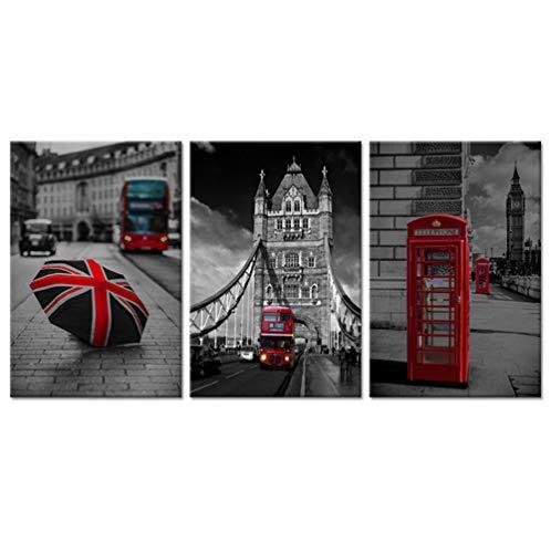 liafa 3 Stück Stickerei schwarz und weiß rot London Bus England britisches Mosaik 5d DIY Malerei