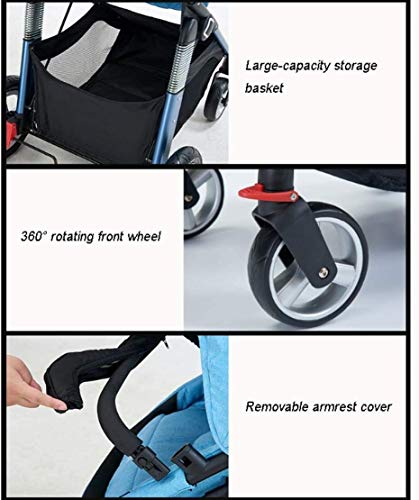 LAMTON Baby Pushchair, Buggy, Pushchairs Baby Stroller with Reversible Bassinet Compact Pushchair Suitable for Children 0-3 Years Old,80x100cm (Color : Blue) LAMTON The adjustable 5-point safety harness has comfortable shoulder pads, The sturdy frame has a wider seat which results in a more comfortable ride for your child The stroller can be easily folded, smaller and more portable; the adjustable backrest angle can be seated or lying down, as well as a large shopping basket and caster ★Carbon steel frame, sturdy, lightweight, durable, easy to store and travel 7
