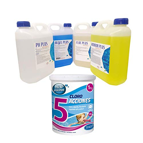 Mega Kit Piscinas Cloro 5 Acciones 1 Kg - Floc Plus floculante - PH Plus Aumentador de PH - Aminor...