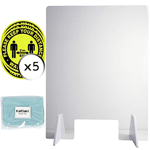 Protective Sneeze Guard, Stronger Clear Polycarbonate Plexiglass Shield For Counters, Transaction Window for Employers, Workers, Easy Assembly, 24' W x 32' T, Set of 1