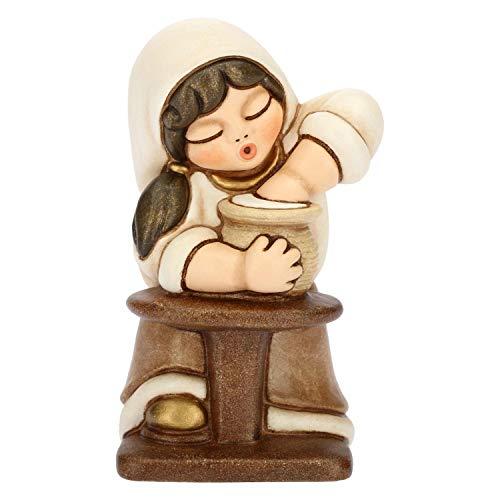 THUN® - Donna Vasaia con Tornio - Versione Bianca - Statuine Presepe Classico - Ceramica - I Classici