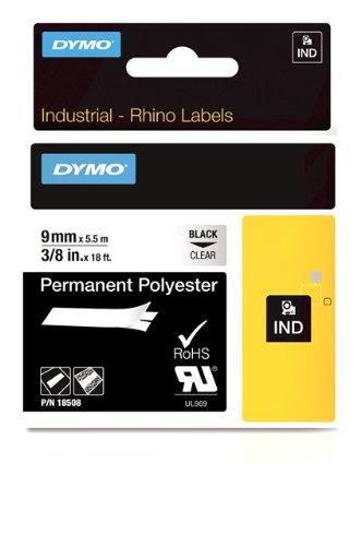 Dymo Rhino Band Industrie Polyesteretiketten, 9 mm x 5.5 m, schwarz/transparent