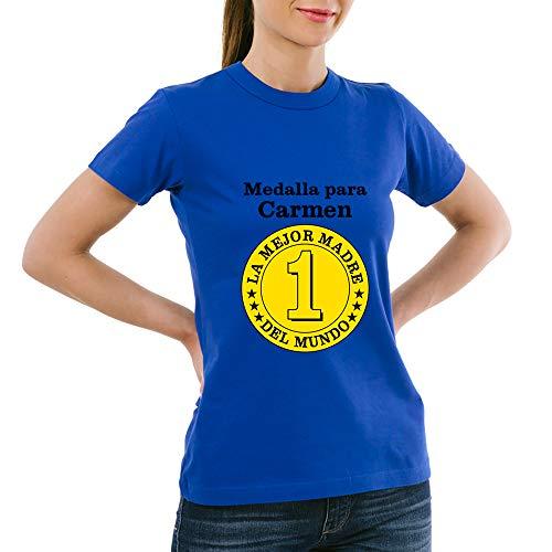 Calledelregalo Regalo para Madres Personalizable: Camiseta Medalla a la Mejor Madre Personalizada con su Nombre y el tuyo/vuestro (Azul): Amazon.es: Ropa y accesorios