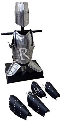 Réplica Náutica Hub Medieval Crusader Knight Templario Casco y Peto Templario Chaqueta de cuero de la pierna Guardias del brazo de cuerpo completo