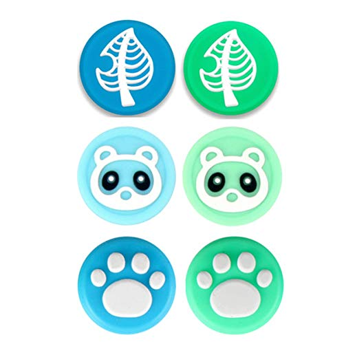 Wen XinRong 6Pcs Thumb Grip Caps Compatible with Nintendo Switch/Lite Cute Cat Paw Raccoon Green Leaf Design Joystick Caps Compatible for Switch Joy Con Controller NS Accessories