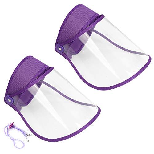 2 Pack Sun Hat with Transparent Sheild Mask, Anti-Saliva Splatter, Dust, Oil, Smoke Protective Hat, Reusable Breathable Visor Windproof Dustproof Hat for Adults (2 pcs Purple)
