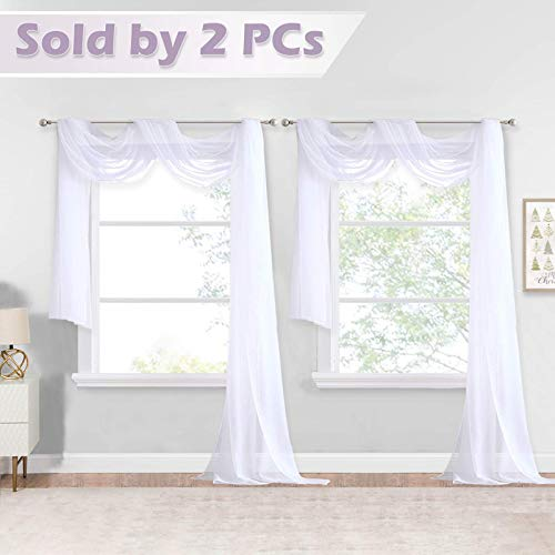 NICETOWN White Sheer Window Scarfs 216 inch Extra Long, Soft Voile Textured Bed Canopy Scarf Curtains for Event Designs/Home Decor, 60 inches Wide, Set of 2