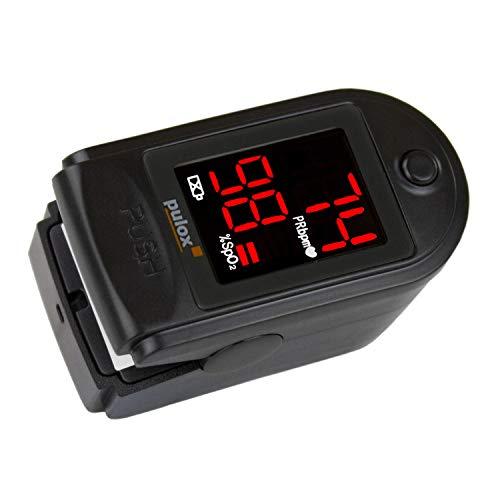 Pulox PO-100 - Oxímetro, pantalla LCD, incluye accesorios, color negro