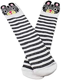 Lovely Socks Children Cotton Socks Kids Autumn Stripe Bear Patterns Anti-Slip Mid Tube Socks (Pink) Newborn Sock (Color : Grey)
