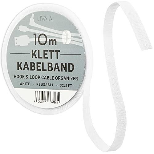 Bridas de velcro reutilizables: 10 m de cinta de velcro blanca para...