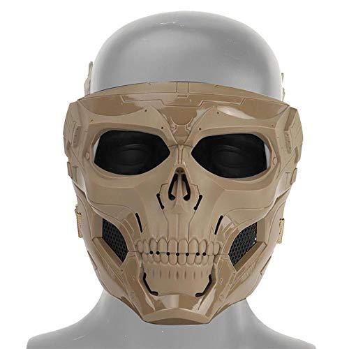 XWYWP Máscara de Halloween Esqueleto Airsoft Máscara de Cara Completa Cráneo Cosplay Masquerade Party Máscara Paintball Militar Juego de Combate Cara Protectora Mas Marrón