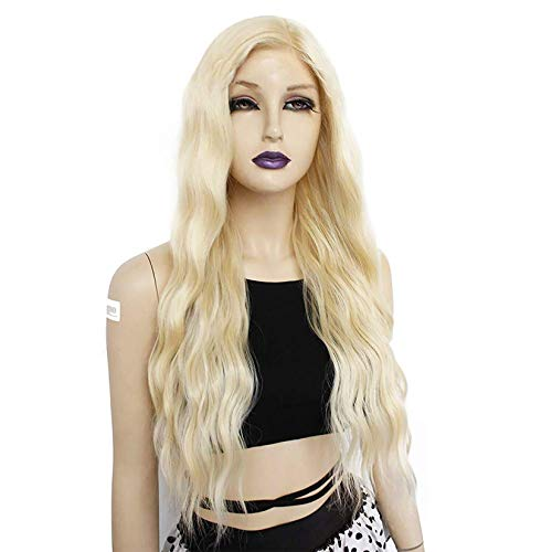 No lace Ebingoo 26 inch Platinum Blonde wig for women Blonde wave curly wig 613 blonde wig deep curly Long Natural Water Wave Glueless Synthetic Hair Wigs for Any occasion for cosplay