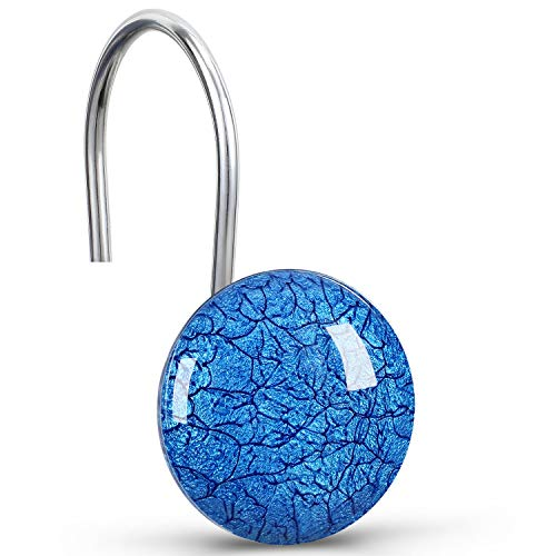 CHICTIE Blue Shower Curtain Hooks Rings,Set of 12 Decorative Marble Crack Shower Curtain Hooks,Stone Rustproof Shower Rings for Bathroom Curtains Rods