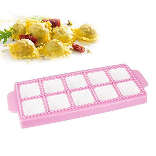 CODIRATO Stampo per 10 Ravioli e Tortelli Quadrati in Plastica Tagliere per Ravioli Raviolamp(Rosa, 26.5 * 10.5 * 2cm)