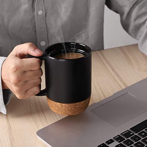 DOWAN Coffee Mugs Set of 2, 15 OZ Ceramic Mug with Insulated Cork Bottom and Splash Proof Lid, Large Coffee Mug with Handle for Men, Women, Matte Grey
