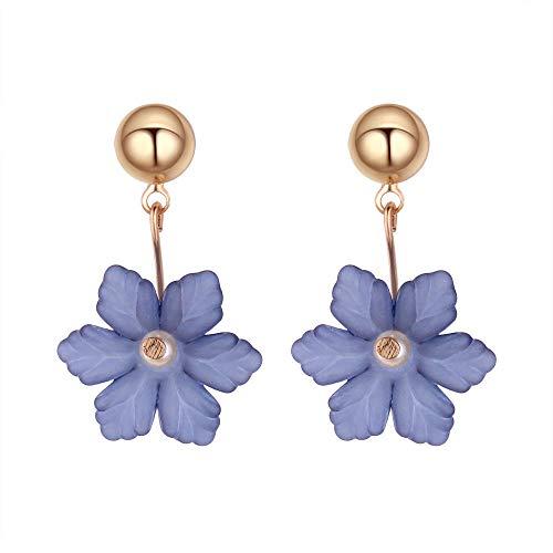 Erin Pendientes De Flores Acrílicas De Temperamento 3 Color Azul Blanco Gris Pendientes Corea Perla Pendientes De Copo De Nieve