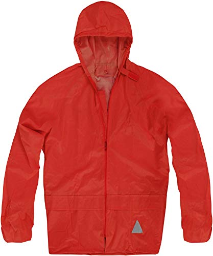 normani Unisex Regenjacke mit Kapuze 100% Wasserdicht - 100% Winddicht - Überziehjacke 5.000 mm Farbe Rot Größe L