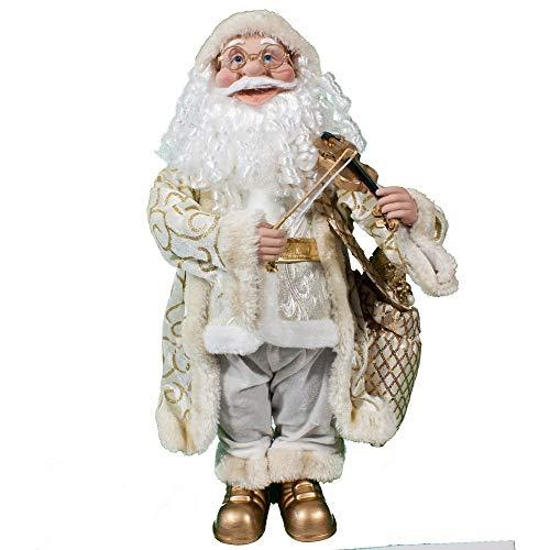 Joy Christmas Babbo Natale Bianco con Musica e Movimento 55 cm con Violino - 48993
