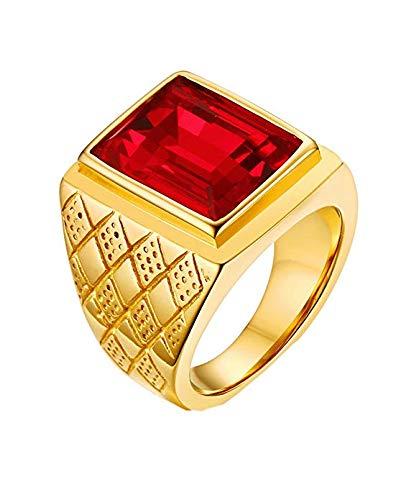 PAMTIER Herren 18K Gold Überzogen Fett Gedruckt Edelstahl Ringe mit Rot Stein Größe 65 (20.7)