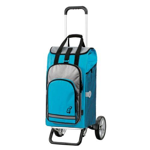 Andersen Chariot de courses Alu Star avec sacoche Hydro turquoise, volume 60L, poche thermique et cadre
